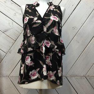 White House Black Market Black Floral V Neck